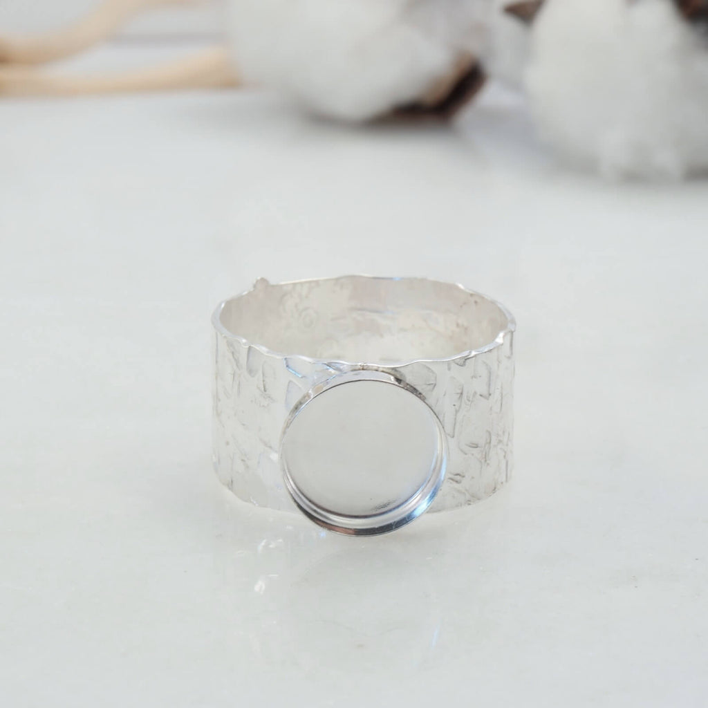 front view 10mm wide bezel cup ring setting silver