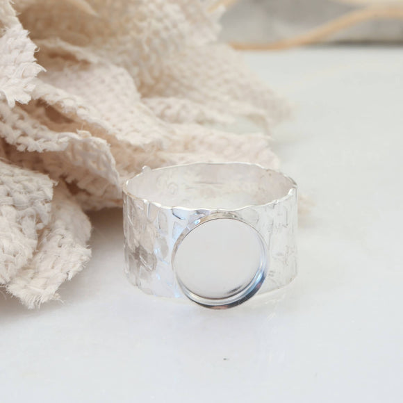 10mm wide bezel cup ring setting silver