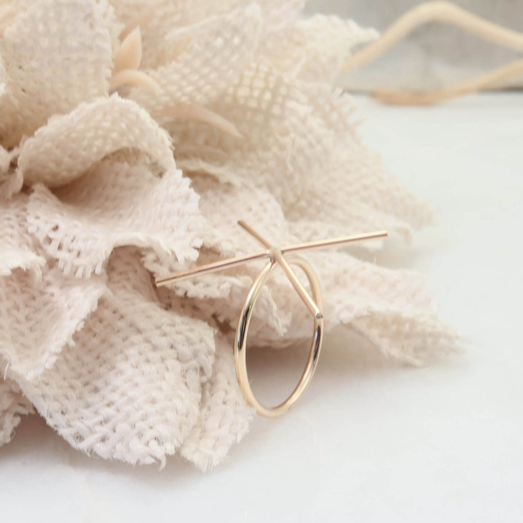 plain pink gold 4 prong ring setting