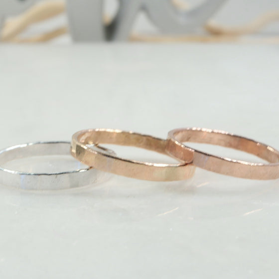 stamping rings 2.5mm silver, gold, pink gold