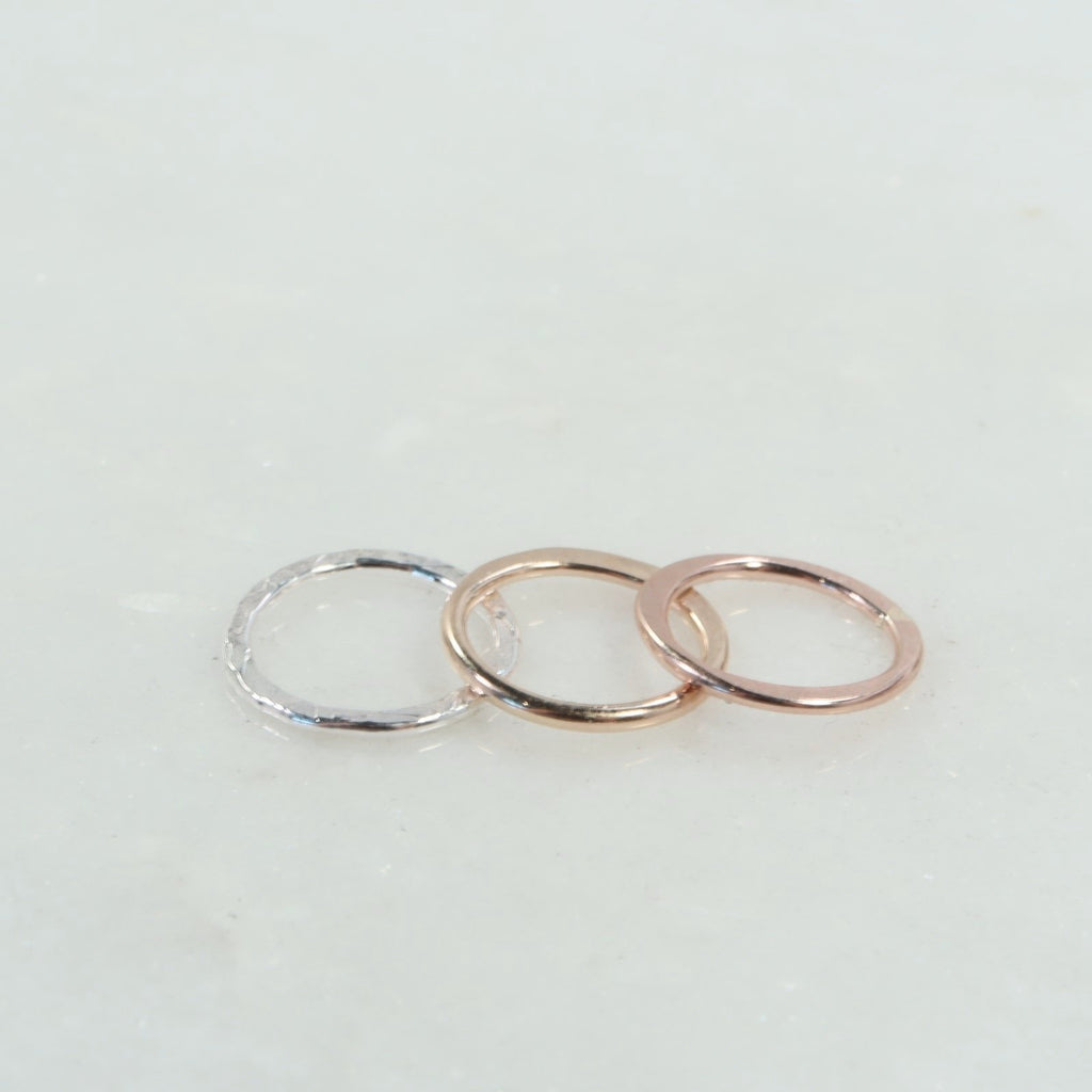 8mm 1mm silver, gold, pink gold