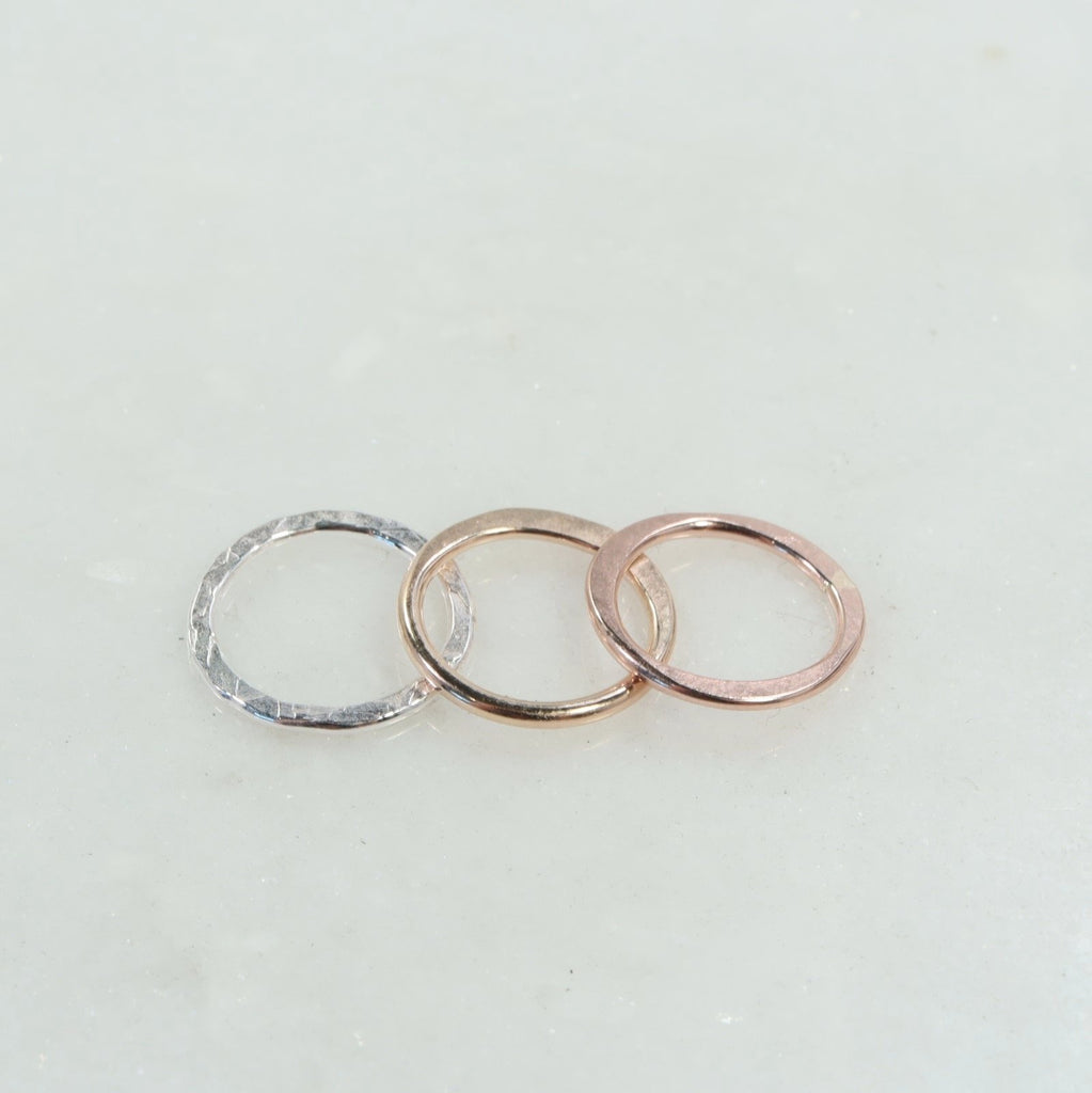 20mm 1mm silver chiseled, gold half hammered, pink gold flattened