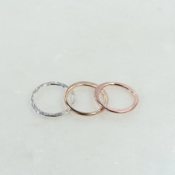 20mm 1mm circles silver, gold, pink gold
