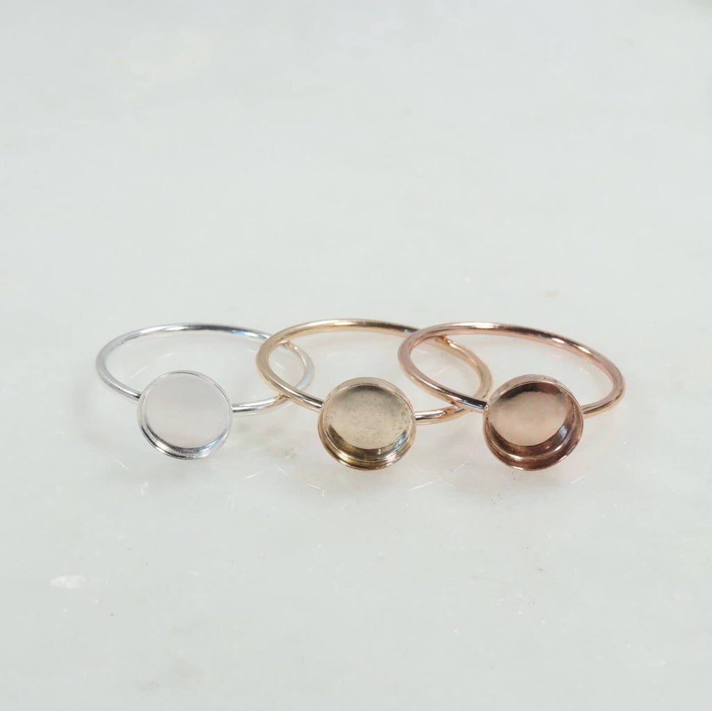Plain bezel cup ring settings silver, gold, pink gold