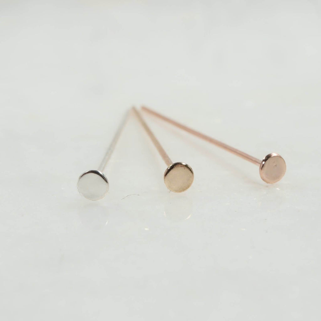 3.5mm flat head pins silver, gold, pink gold