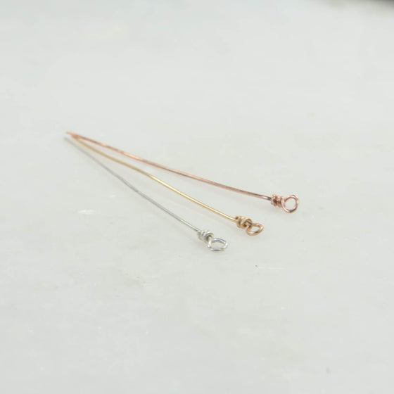 wrapped eye hook headpins silver, gold, pink gold