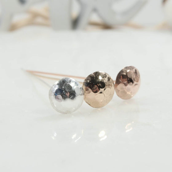 Dot texture 8mm headpins in silver, gold, pink gold