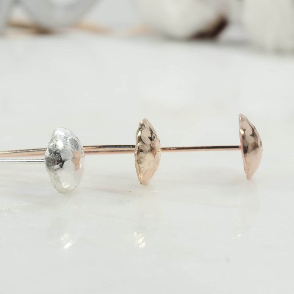 Dot texture 8mm headpins in silver, gold, pink gold side view