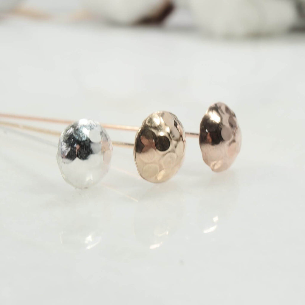 Dot texture 8mm headpins in silver, gold, pink gold front view