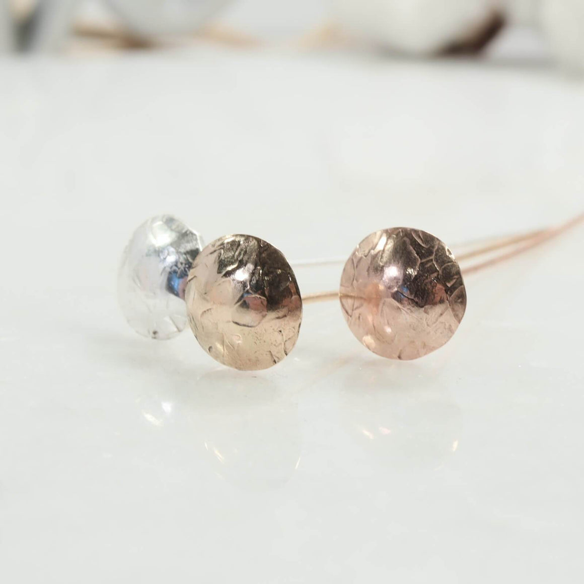 chiseled 8mm headpins in silver, gold, pink gold