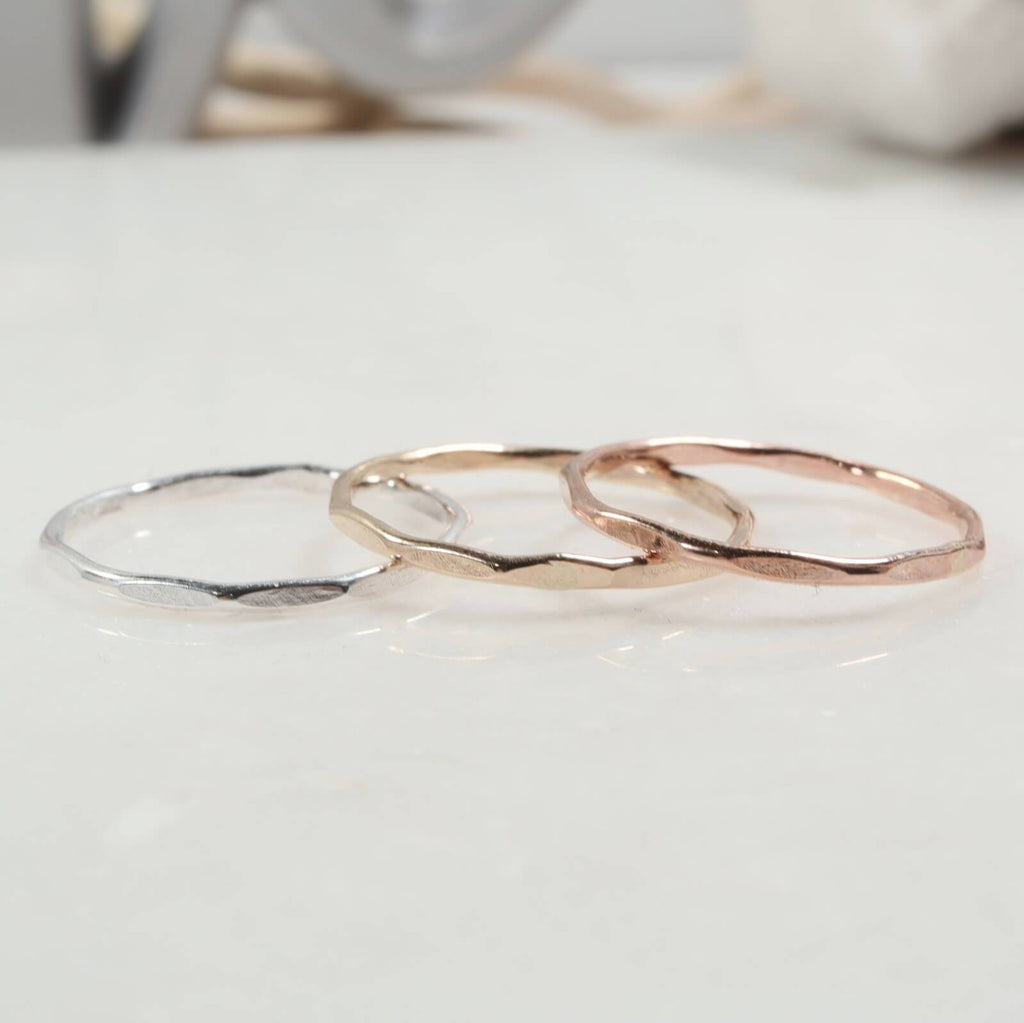 flattened thin band rings silver, gold, pink gold