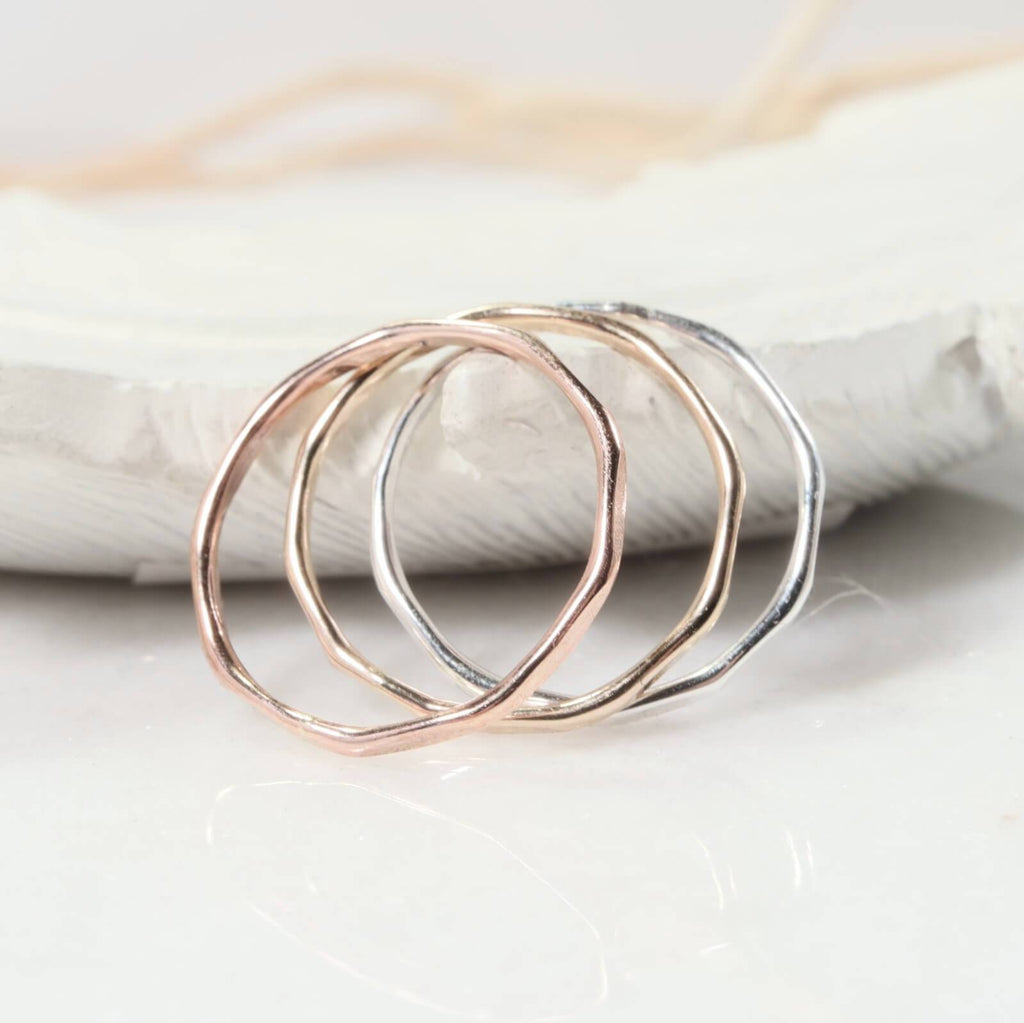 side view thin band rings pink gold, gold, silver