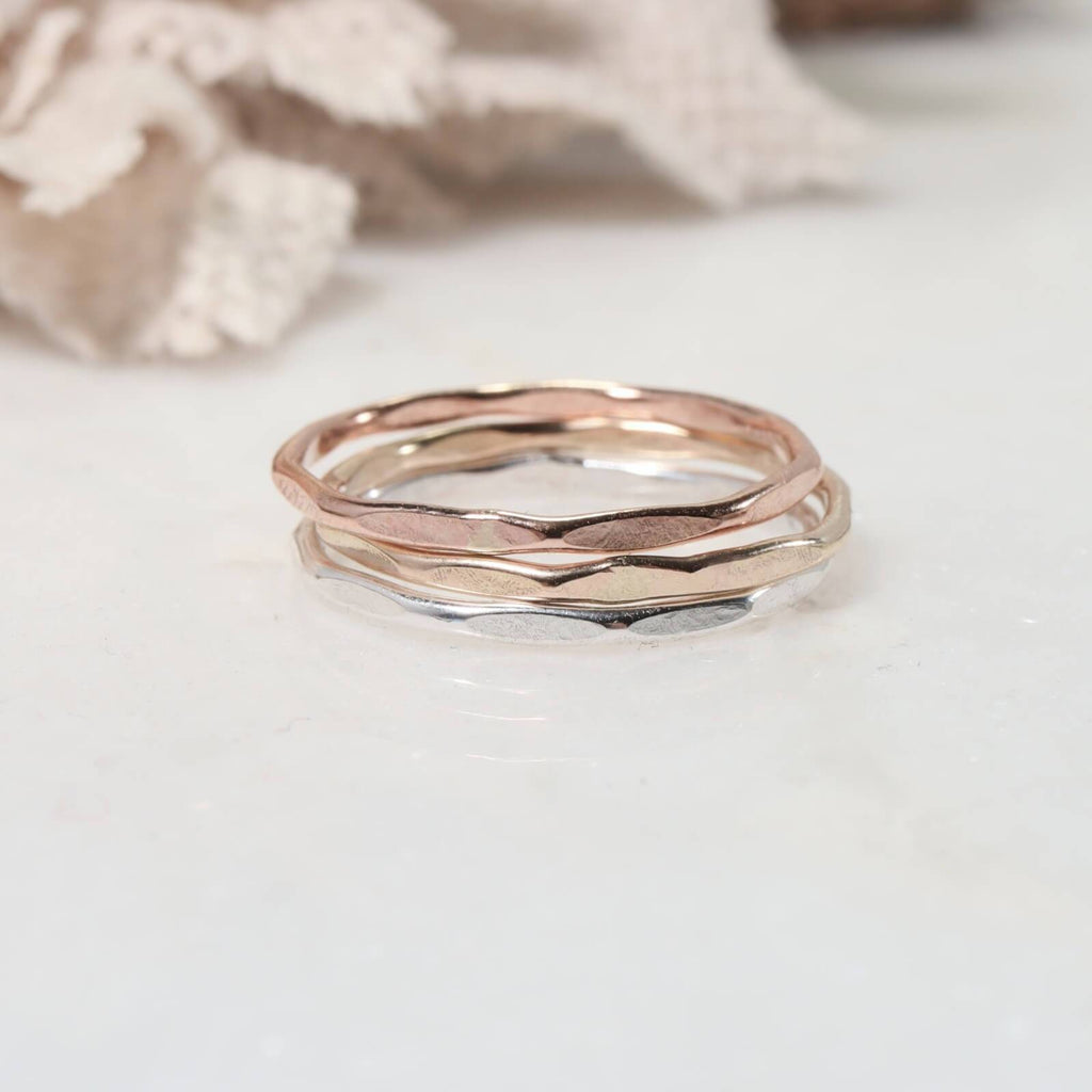 stacked thin band rings silver, gold, pink gold