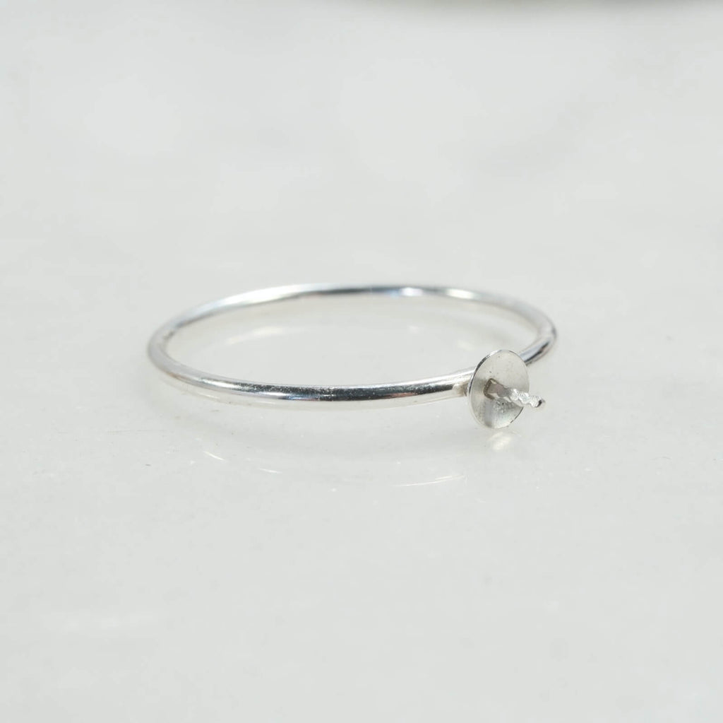 plain silver pearl ring setting