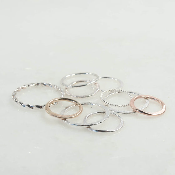 16mm 1mm circles gold, silver, pink gold