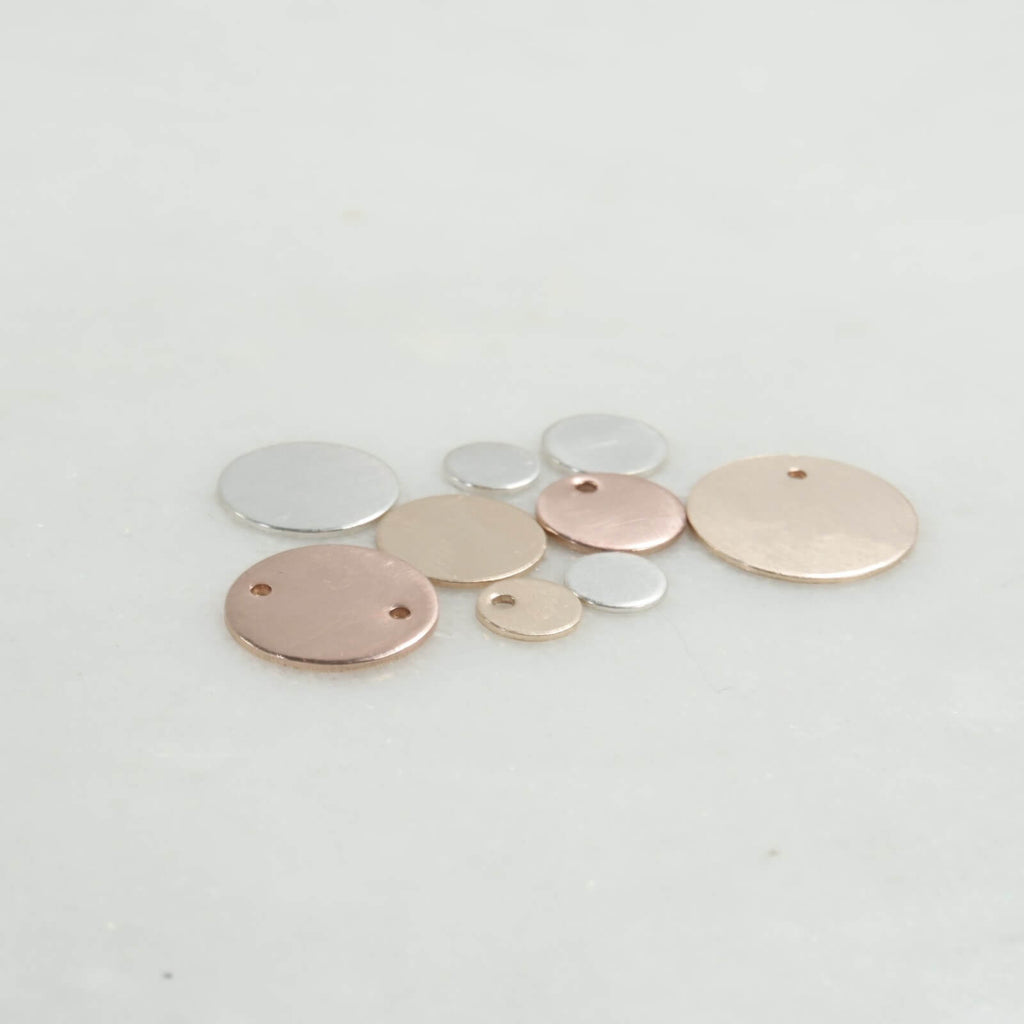 jewelry tags silver, gold, pink gold 18mm