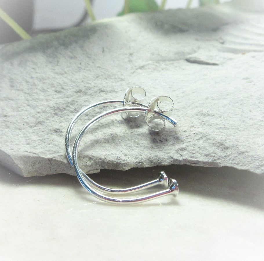 silver ball stop hoop for jewelry making