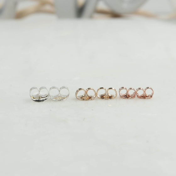 side view earring backs silver, gold, pink gold