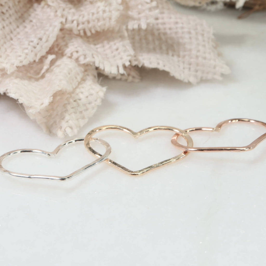 hearts linked mixed metals