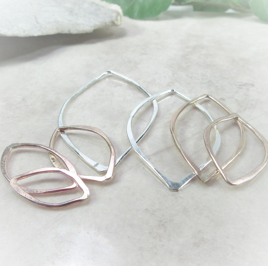 silver gold pink gold leaf shapes for jewelry making