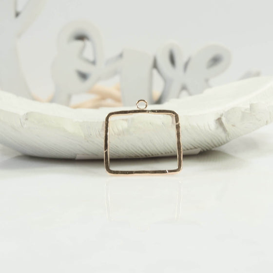 20mm square with ring at top gold