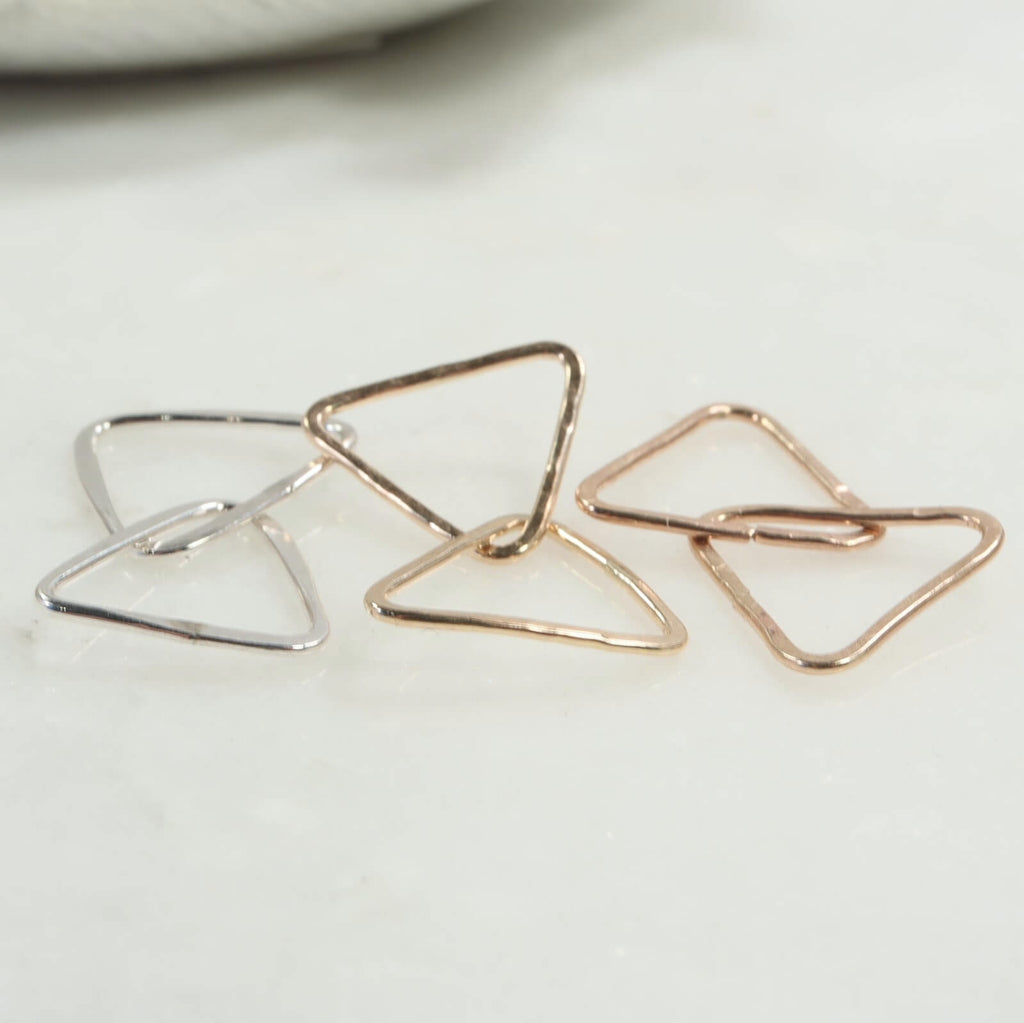 double triangle connectors silver, gold, pink