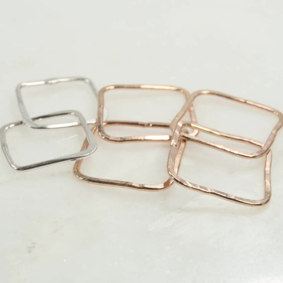 square links double silver, gold pink gold
