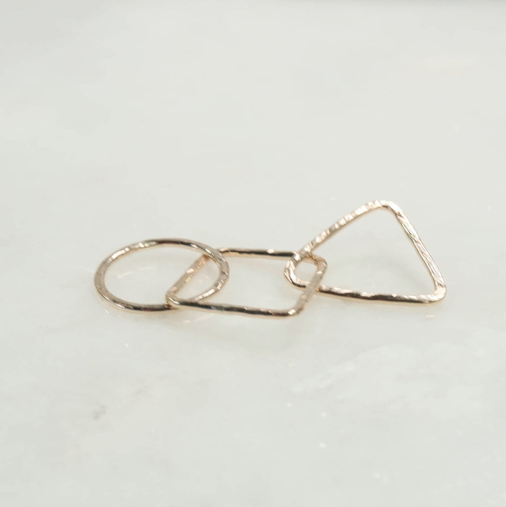 circle, square, triangle in gold 10mm