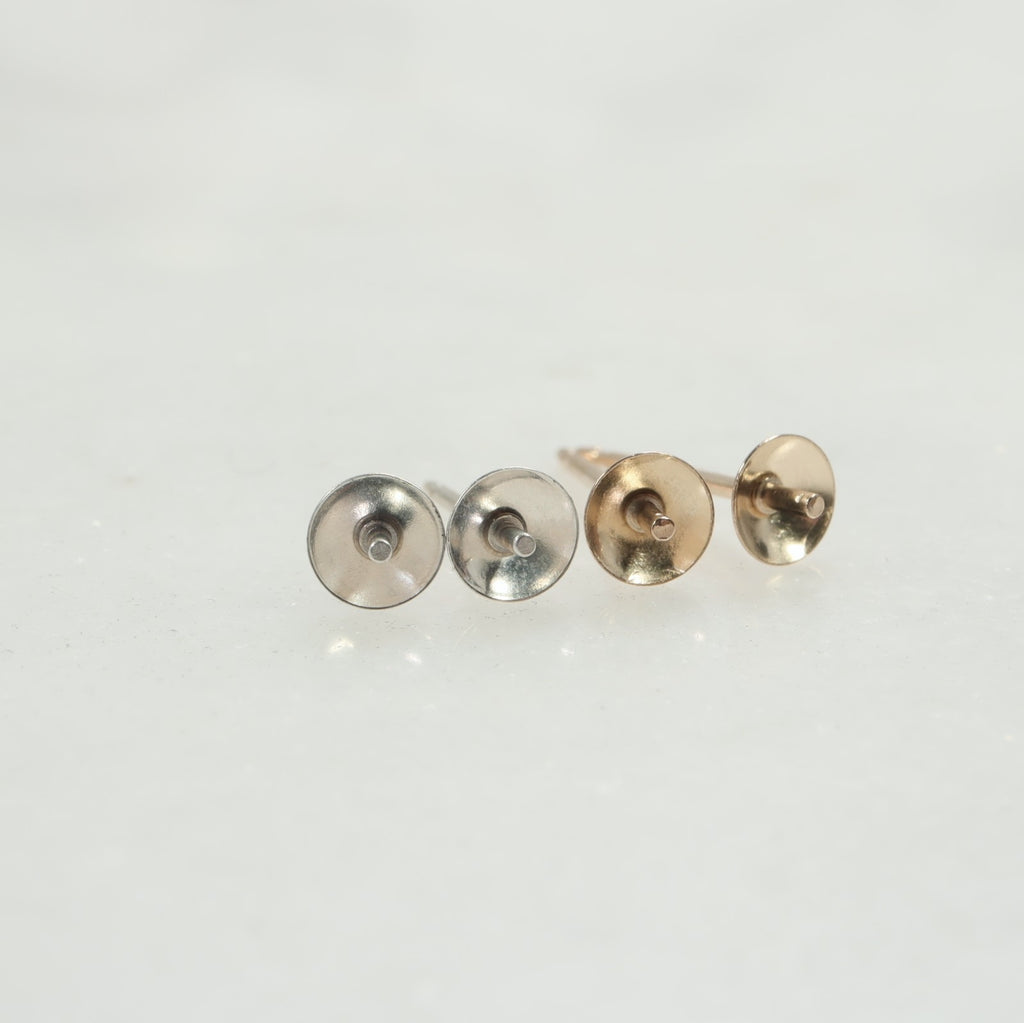 silver & gold pearl post earring setting