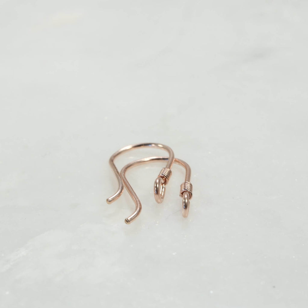 pink gold ear wires wrapped