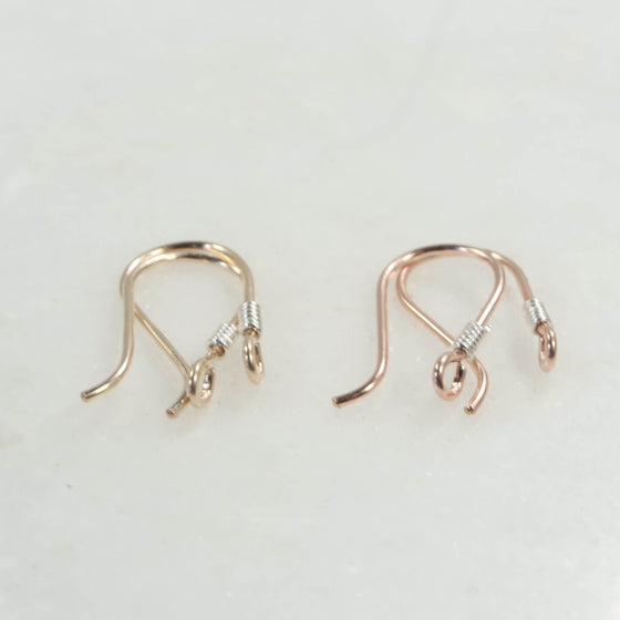 ear wires wrapped gold or pink gold with silver