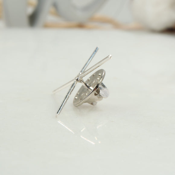 silver tie tack for raw gemstone
