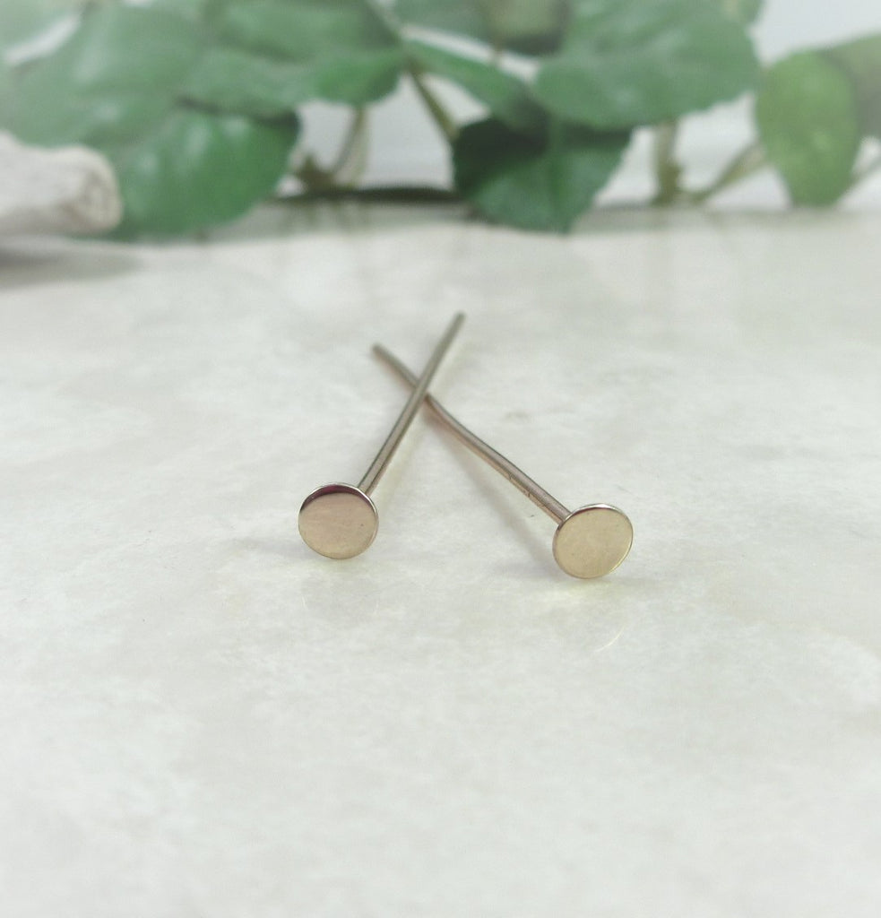 flat head pin solid 14k gold
