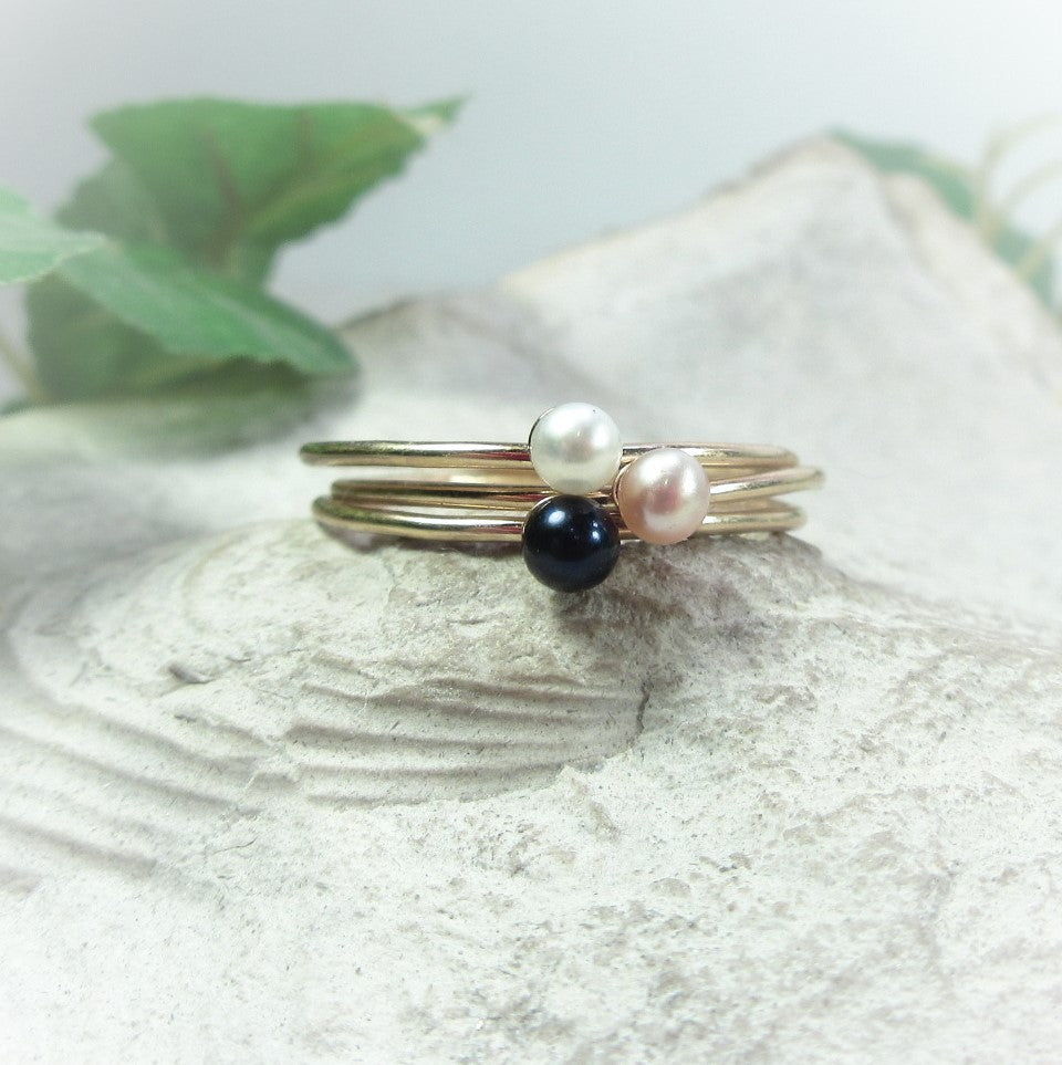 Thin Band Accent Ring Gold Filled with 3mm Pearl Choose Your Size And Pearl Color