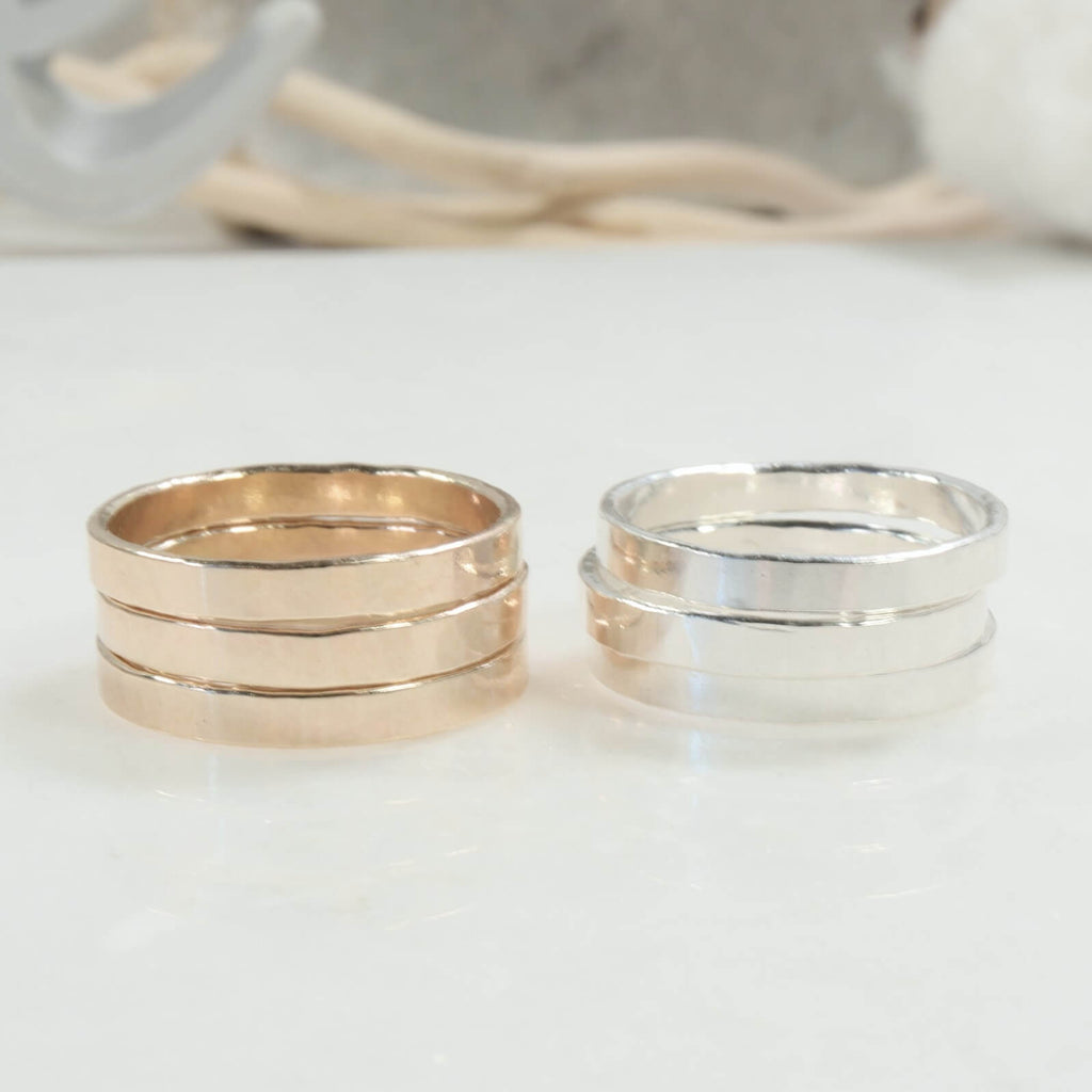 stamping rings 2.5mm in gold and silver