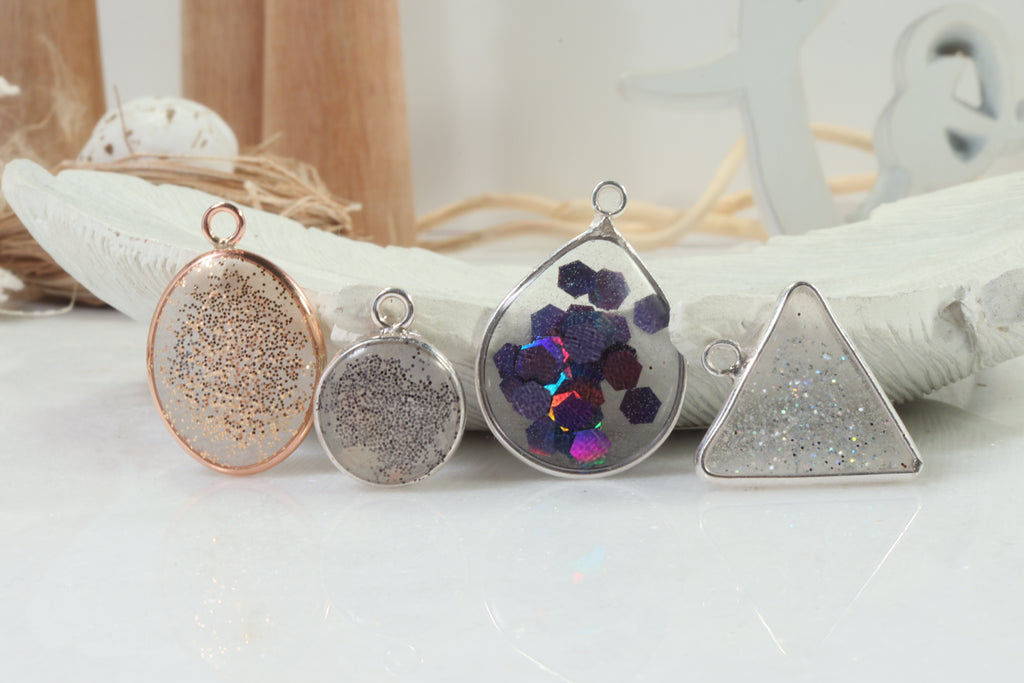 triangle open bezels with resin