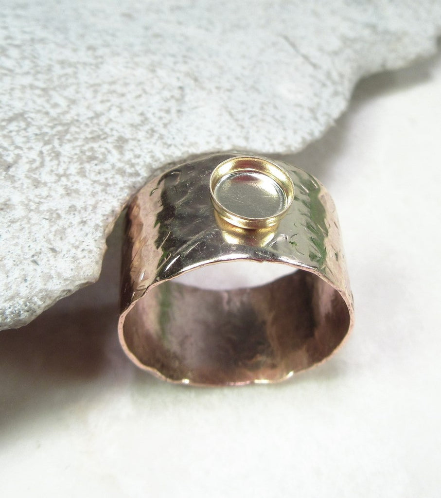 gold wide band ring with bezel cup