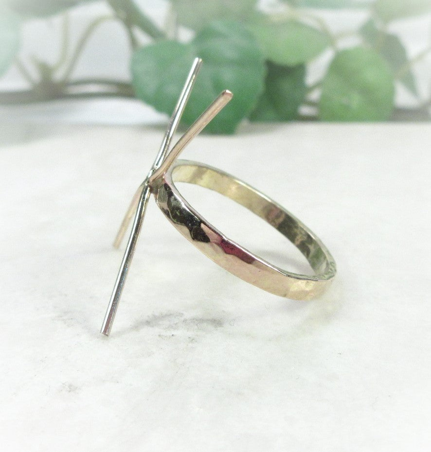 side view 2 mm gold hammered ring blank
