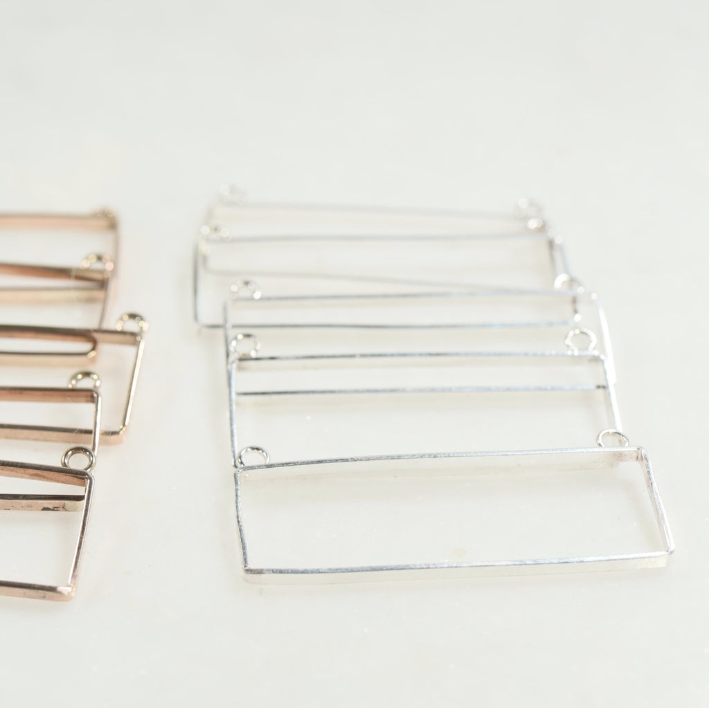 silver rectangle necklace bezels
