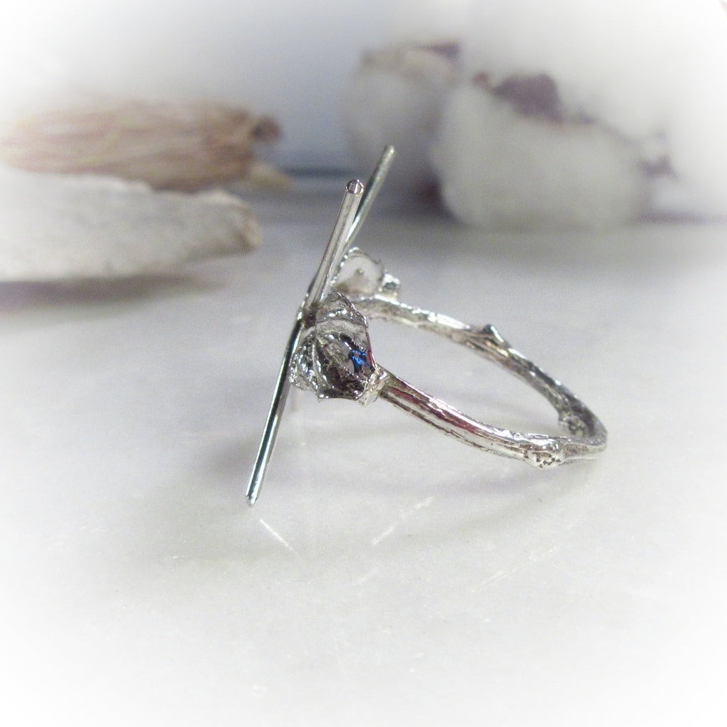Branch with Double Leaf Raw Gemstone Ring Setting Solid Silver