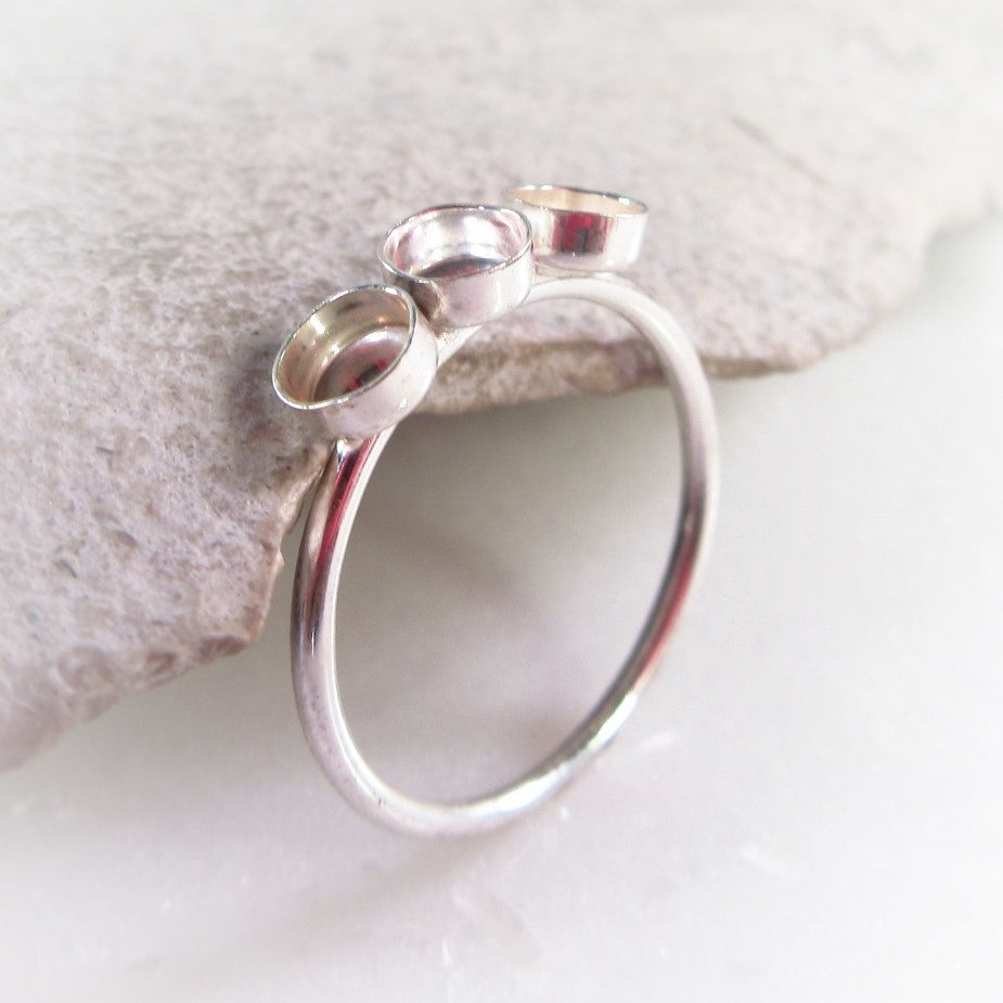 Triple Bezel Cup Ring Setting Your Choice Of Metal, Bezel Cup Size and Ring Size