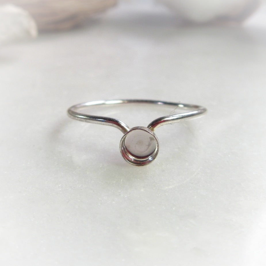 V Plain Cup Ring Setting 1mm Silver Band Choose your Size, Metal And Cup Size
