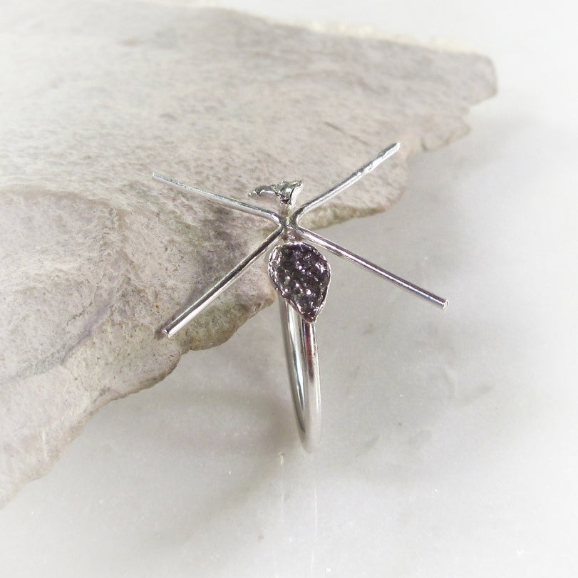 Twigs Raw Gemstone Ring Setting Sterling Silver 16g 4 Prong with Leafs Oxidized