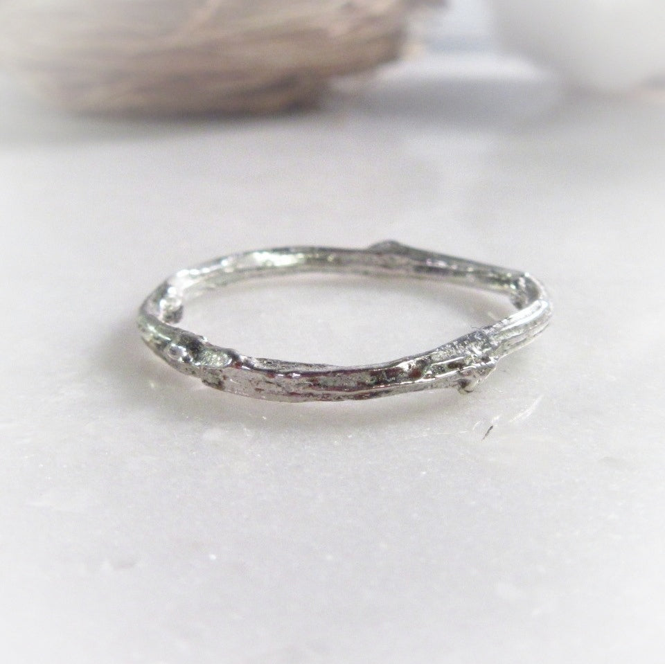 Branch Plain Band Ring Solid Silver