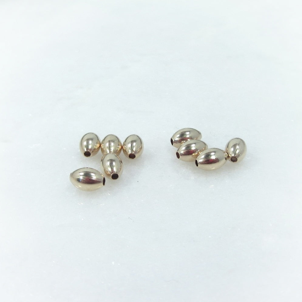Gold Oval Beads Round 3mm x 5mm - 10pcs