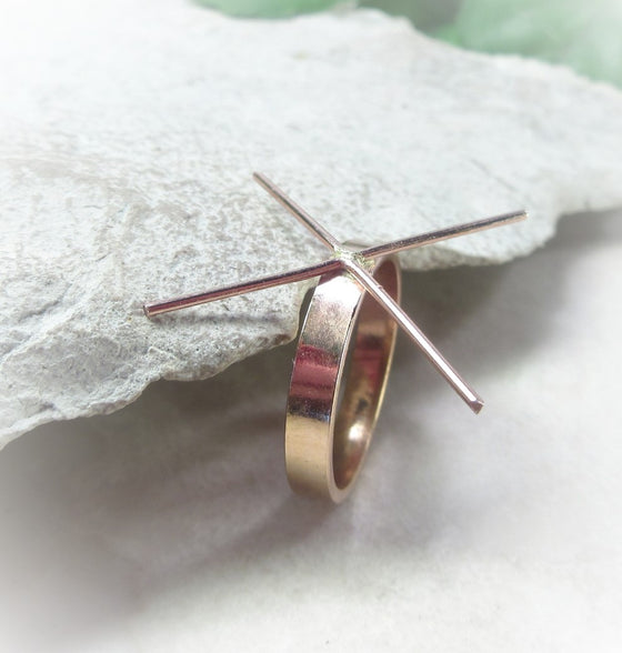 above view pink gold plain raw gemstone ring setting