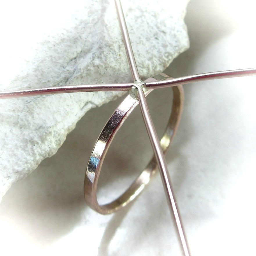 above view pink gold 1.5 mm hammered ring setting