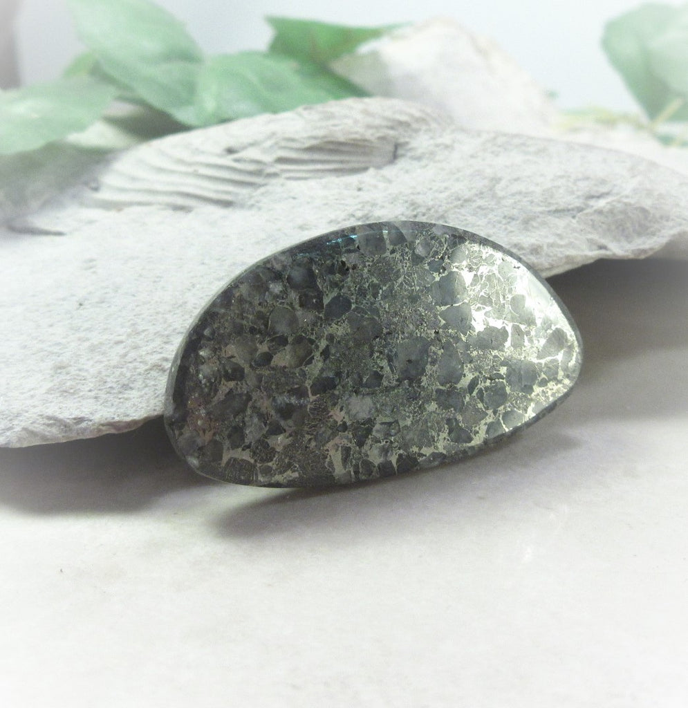 pyrite and quartz cabochon