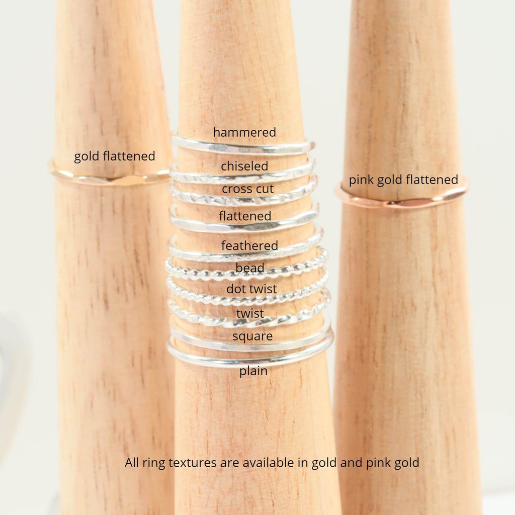 thin band ring textures bead twist