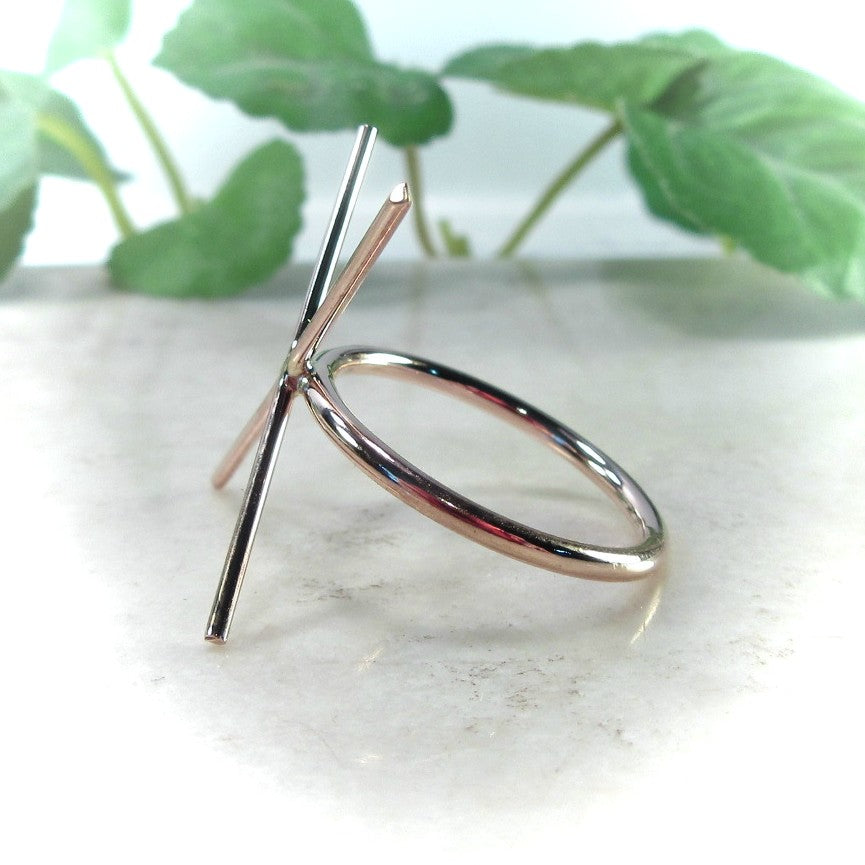 side view 14 k rose gold ring setting